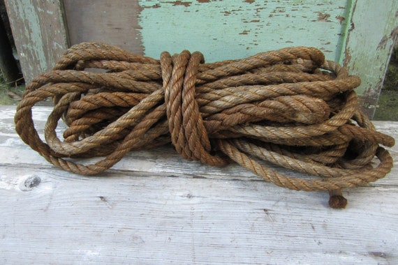 Antique Rope Nautical Themed or Barn Bull Rope Twisted Industrial Use 60 Feet