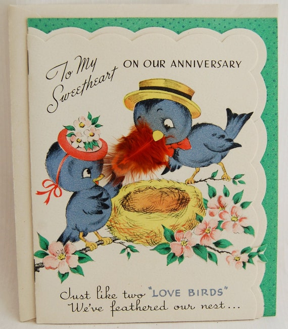 "Vintage 1950s Gibson Anniversary Greeting Card ""Love Birds"" UNUSED"