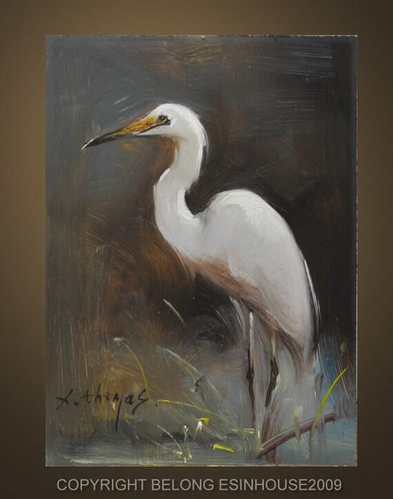 wildlife ,birds, egrets  Original Oil Panel Painting 5x7