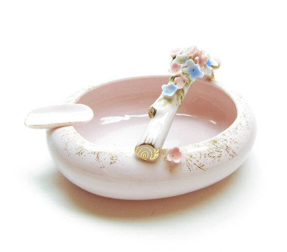 Pink Ashtray Forget-Me-Not Vintage Flower Basket Gold Speckled Porcelain Ash Tray