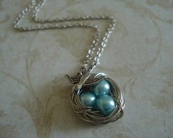 Blue  Pearl Bird's Nest Necklace