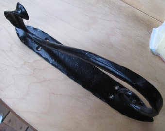 Water Leaf Hand Forged door pull, Blacksmith Made