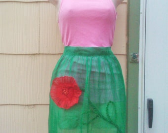 Vintage 1950s Apron/ Green/  Organdy /Rockabilly/ Housewife/ VLV