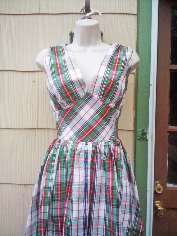 Vintage 1950s Party Dress/ Plaid/ Rockabilly/ VLV/ Medium