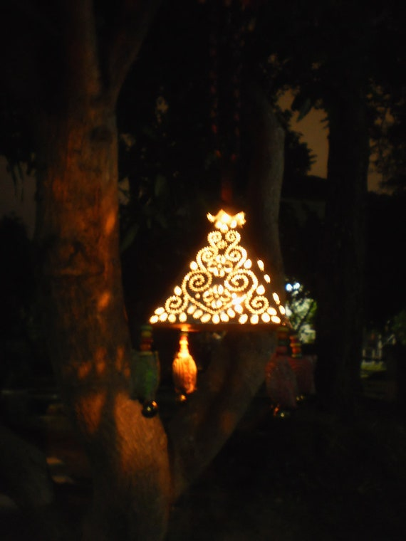 Lantern Handmade and Decorated with Beautiful Hmong Textiles... For Happy Tree