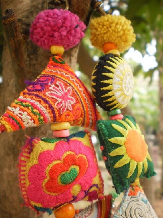Hmong Tribal Textile Handmade  Friendship Keychains