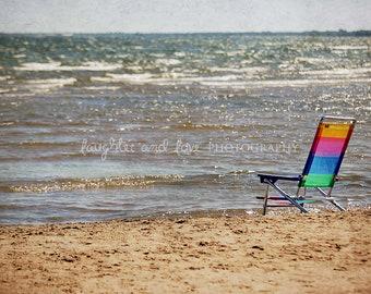 Rainbow Beach Chair Photo, Landscape Photography, Beach House Decor, Coastal Nautical Tropical Wall Decor, Cottage Lake House Home Wall Art