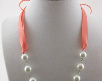 Bridesmaid Necklace Style 2 - Glass pearl and Coral Satin Ribbon - Customizable