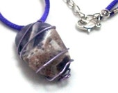 Amethyst Pendant Necklace Wire Wrapped Tumbled Stone