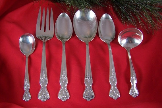 SALE - Serving Set - SPOONS - FORK - Ladle - Vtg Silverplate - Inspiration/Magnolia by Rogers - Ca 1951 - Holidays - Under 30