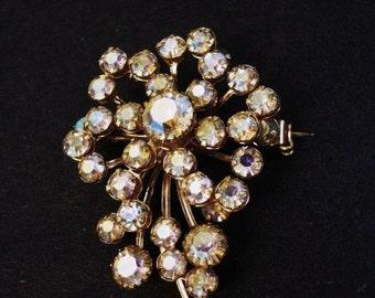 Dazling Vintage Iridescent Stones Brooch Barely Pink Austrian Crystal Rhinestones