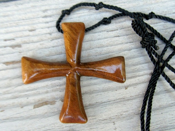 Maltese Cross Necklace - Cherry Hardwood - Mens Jewelry