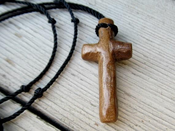 Wooden Cross Necklace - Walnut - Mens Jewelry