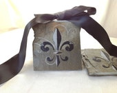 Fleur De Lis Coasters made from Recycled New Orleans Roofing Slate