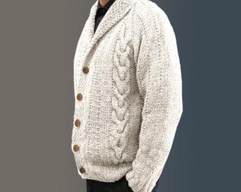 custom made hand knitted 100% wool cardigan White