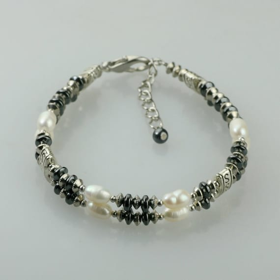 Pearl hematite double strand layered bracelet Bridesmaids gifts Free US Shipping handmade Anni designs