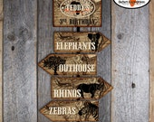 Safari Party - Party Signs - Welcome Sign - Directional Arrow Signs - Customized Printable (Jungle, Wild Animal, Zoo, Africa, Vintage)