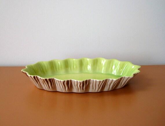Roselane California Pottery Scalloped Dish, Lime Green Interior, Faux Bois
