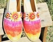 SALE Sunrise Sunset Hand Dyed Womens Shoes Canvas Keds Grasshoppers 8 Slim Sunflower Daisy Flowers Psalm 113 Vintage Upcycled Eco Friendly
