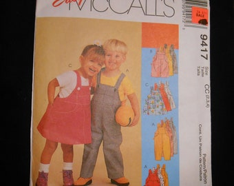 McCalls 9417 Childs overalls an skirt overall, size:  2,3,4