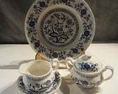 PRICE REDUCED Beautiful Vintage Enoch Wedgwood China set Made in England. Blue Heritage Pattern.