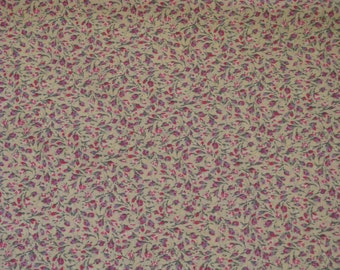 "Vintage Calico Cotton Fabric Rosebuds Roses Calico Mr. Condotti Print 1 Yard by 42"" Wide 1960's Material BEAUTIFUL"