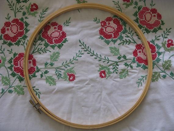"""Vintage Embroidery Hoop  12"""" Round Wood Hoop Screw Tension Type for Quilting, Needlework, Needlecraft"""