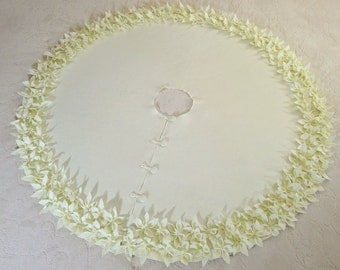 """54"""" Christmas Tree Skirt in Ivory felt with hand cut and hand sewn flowers at the bottom. FREE SHIPPING"""