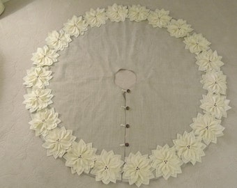 """72"""" Christmas Tree Skirt in a Light Natural Burlap with Ivory Hand cut Poinsettas around the Perimeter. """"FREE SHIPPING"""""""