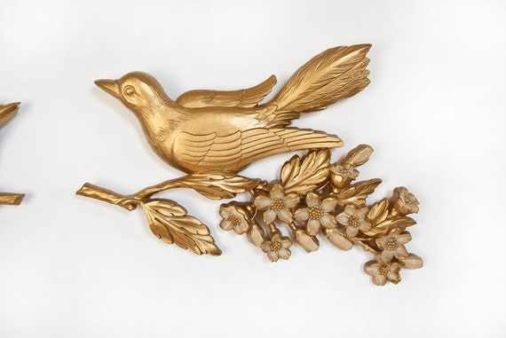 Gold Birds on a Branch Syroco Inc. Plastic Wall Decor Pair