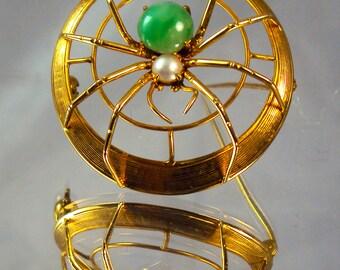 Beutiful Vintage Jewelry 14KT Gold Jade & Pearl Spider Brooch Pin(ITEM- I17)