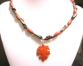 Red and Brown Fall Leaf Beaded Necklace