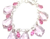 Pink and Purple Swarovski Crystals and Softball Charm Bracelet - RESERVED