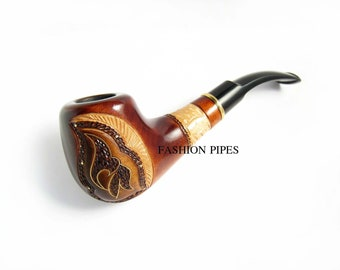 Pipe Carving Handmade. Tobacco Pipe, Wood Pipe Inlaid and Metal Engraving Wooden pipe - BEST Price in FPS
