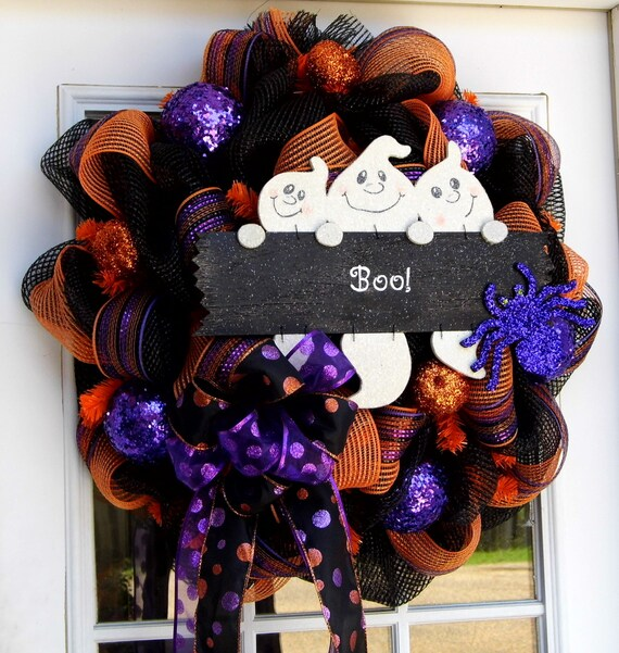 Ghosts Deco Mesh Wreath