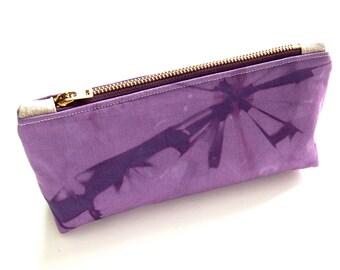 100% Organic Cotton Shibori Pouch - Purple Shibori Pouch - Amethyst