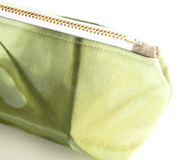 100% Organic Cotton Shibori Pouch - Purple Shibori Pouch - Deep Moss