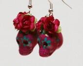 Dia de los muertos ceramic earrings- handmade mexican catrinas-Frida kahlo