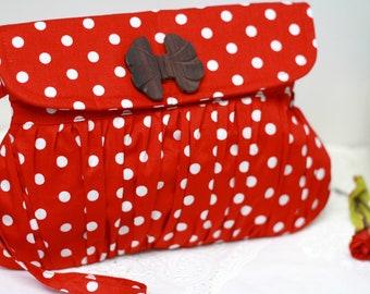 Red and white clutch polkadot , cotton clutch, retro purse
