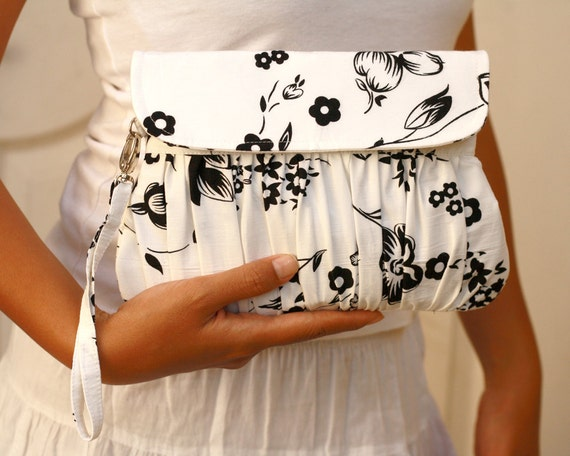 Wedding clutch black and white pleated wristlet purse