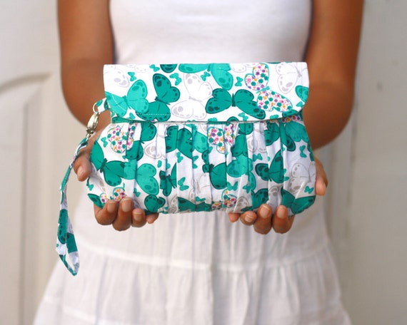 Gathered Clutch Purse Green Butterfly Wristlet