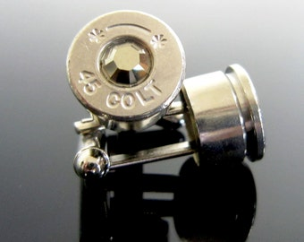Bullet Cufflinks Colt 45 in Silver and Metallic Gold