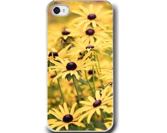 Yellow Floral, iPhone 5 4 4s Case, Yellow Flower Brown Eyed Susans, Cell Phone Case, Accessory for iPhone 5 4 4s