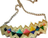 Bib necklace banner bunting triangle embroidered multicolored modern jewelry color block An Astrid Endeavor