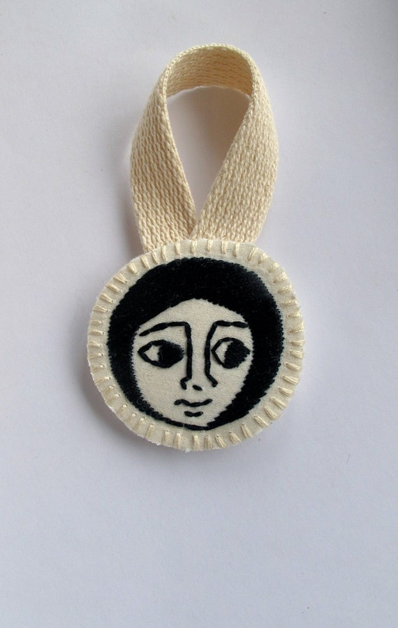 Embroidered Christmas ornament Ethiopian art inspired face