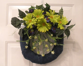 "REDUCED -Floral Arrangement ""Green Jeans Wreath"" Flower Centerpiece  Fall Delight Wreath"