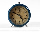 Vintage French Petrol Blue JAPY  Alarm clock with yellowed dial