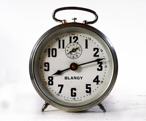 Antique French  BLANGY Metal Alarm clock