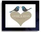 Personalized Unique Wedding  Gift Idea Love Birds Art Print for Couples