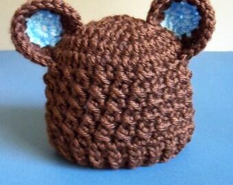Crcohet Baby Bear Hat, Baby Bear Hat, Baby boy, Newborn, Infant